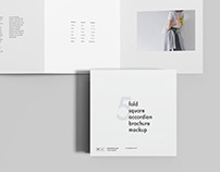 5 Fold Square Brochure Mockup