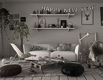 Scandinavian living room - 3D Rendering