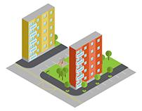 Panel blocks cityscape
