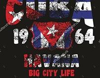 Cuba vintage retro style graphic design vector art