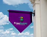 Free Hanging Banner Logo Mockup PSD
