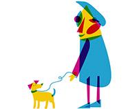 Mr. RGB walking his dog