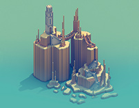 The monument island - Voxel art