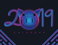 2019 Calendar Neon Pig