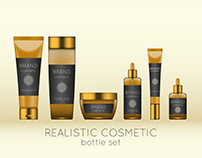 Realistick vector cosmetic bottle mockup