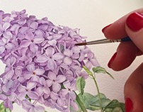 Lilac watercolor illustration