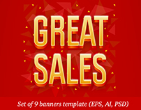 """Set of 9 banners template """"Great Sale"""""""