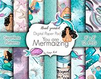 Mermaizing Pattern Sea Papers Mermaids Design