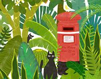 红色邮筒与黑猫