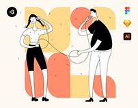 Tall People Illustrations