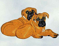 TWIN GRUMPY DOGS EMBROIDERY DESIGN