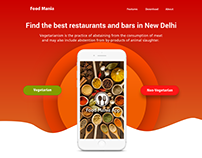 Food Mania Landing Home Page in Adobe Xd design