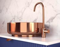 Locker in the bathroom with a bronze washbasin