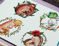 Watercolor Forest Animal set