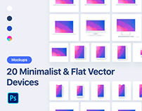 20 Minimalist & Flat Vector Devices Mockups