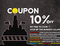 Burger Colony, Logo design, menu, coupons, flyers.....