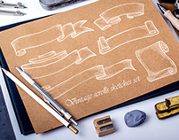 Parchment scroll sketches set