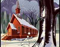 YOSEMITE CHAPEL IN WINTER