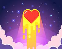 Love rockets into the sky