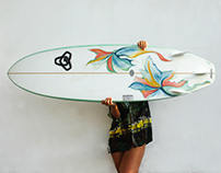 Surfboard Art Flowers