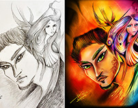 Before/After-Paintings from Pencil to Digital