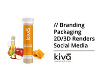 Branding, Packaging, 2D/3D Renders for Kiva