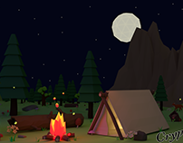 Low Poly Scene – Camping in the forest