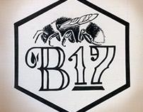 honey bee logo B(ee) (20)17 Hand drawn typography