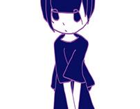 座り込む 青紫