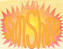 Hello Sunshine, hand-drawn lettering art print