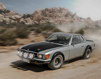 M-B R107/500SL rally car in the California desert