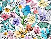 Artsy summer flowers print