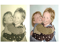 Colorisation of a photograph of twins