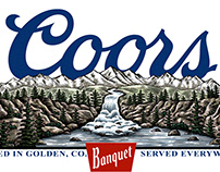 Coors Banquet POS Signage illustrated by Steven Noble