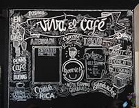 """Muro de pizarra para el café """"Tres toques"""""""