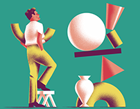 Set of retro and colorful illustrations