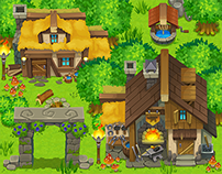 """Untold legacy"" game art - list #1, ""Mountain Village"""