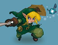 Digital colorization. Link - Legend of Zelda