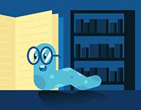 Free Book Worm Flat Illustration Vector