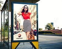 Free Outdoor Bus Stop Billboard Mockup