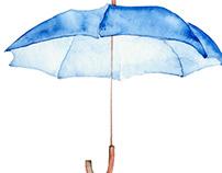 Watercolor blue umbrella.