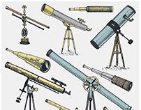 Vintage telescopes and binoculars