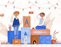Editorial illustrations for Școala9