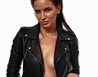 Sexy young Woman with Leather Jacket and wet Hair