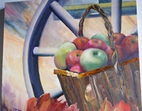 Apples Basket Outside