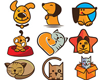 Dog and cat logo and icon