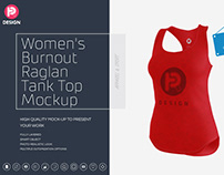 Women's Burnout Raglan Tank Top Mock up