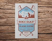 Ski Day Letterpress Invitation