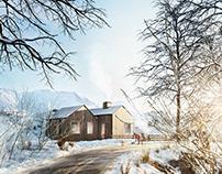 Arch-viz Snow Cottage CGI