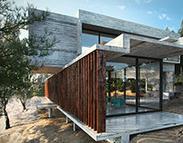 CGI. Concrete house in sand dune